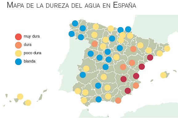 dureza del agua en espana